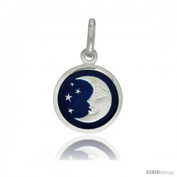 Sterling Silver Blue Enamel Moon & Star Pendant Made in Italy, 1/2 in Round Made in Italy, Free 24 in Surgical Steel Chain
