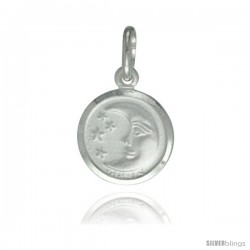 Sterling Silver Moon & Star Pendant Made in Italy, 1/2 in Round Made in Italy, Free 24 in Surgical Steel Chain