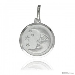 Sterling Silver Moon & Star Medal 5/8 in