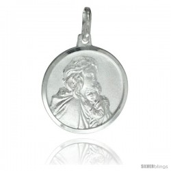 Sterling Silver Madonna & Baby Jesus Medal 3/4 in Round