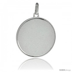 Sterling Silver Engravable Disk 1 in Round Made in Italy, Free 24 in Surgical Steel Chain