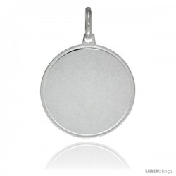Sterling Silver Engravable Disk 7/8 in Round Made in Italy, Free 24 in Surgical Steel Chain