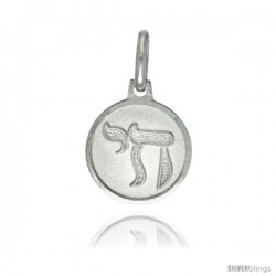 Sterling Silver Chai Medal 1/2 in Round Made in Italy, Free 24 in Surgical Steel Chain