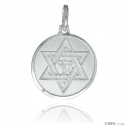 Sterling Silver Star of David Medal 7/8 in Round Made in Italy, Free 24 in Surgical Steel Chain