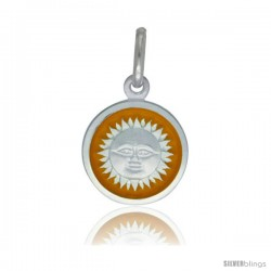Sterling Silver Yellow Enameled Sun Medal 1/2 in Round Made in Italy, Free 24 in Surgical Steel Chain