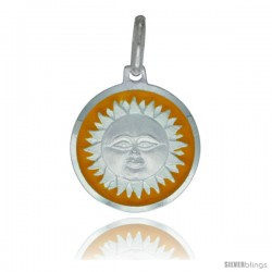 Sterling Silver Yellow Enameled Sun Medal 5/8 in Round Made in Italy, Free 24 in Surgical Steel Chain