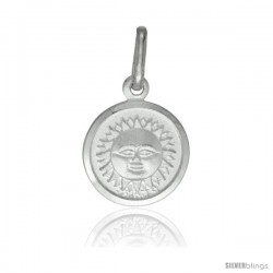 Sterling Silver Sun Medal 1/2 in Round Made in Italy, Free 24 in Surgical Steel Chain
