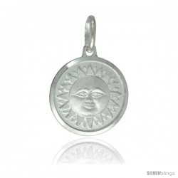 Sterling Silver Smiling Sun Pendant Made in Italy, Medal, 5/8 in Round