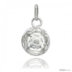 Sterling Silver Hollow Soccer Ball Charm Made in Italy 1/2 in Full Round