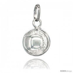 Sterling Silver Hollow Baseball Charm Made in Italy 1/2 in Full Round