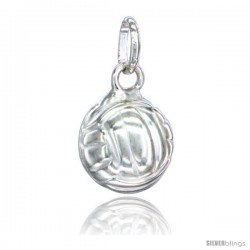 Sterling Silver Hollow Volleyball Charm Made in Italy 1/2 in Full Round