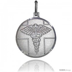 Sterling Silver Medical Attention Medal Made in Italy 3/4 in Round