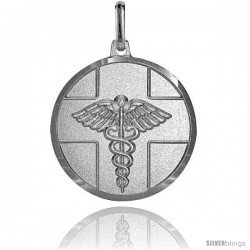 Sterling Silver Medical Attention Medal Made in Italy 7/8 in Round