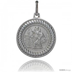 Sterling Silver Saint Christopher Medal Made in Italy 3/4 in