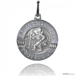 Sterling Silver Saint Christopher Medal Made in Italy 3/4 in -Style Ip163