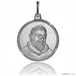 Sterling Silver St. Padre Pio Medal Made in Italy 3/4 in