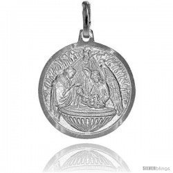 Sterling Silver Nativity Medal Made in Italy 3/4 in