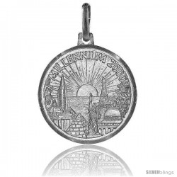 Sterling Silver Millennium 2000 Medal Made in Italy 3/4 in Round