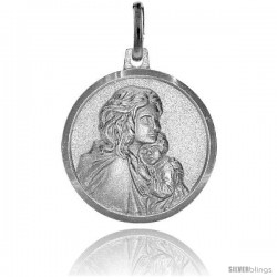 Sterling Silver Madonna & Baby Jesus Medal Made in Italy 3/4 in Round
