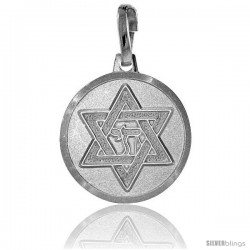 Sterling Silver Star of David Pendant Made in Italy, Medal Made in Italy 5/8 in Round