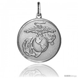 Sterling Silver US Marines Eagle, Globe & Anchor 7/8 in