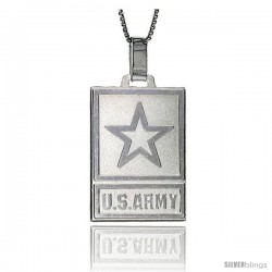 Sterling Silver US ARMY Medal Made in Italy 1 1/4 x 3/4 in Rectangular
