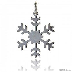 Sterling Silver Snowflake Charm Made in Italy, 7/8 in round