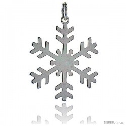Sterling Silver Snowflake Charm Made in Italy, 1 1/4 in