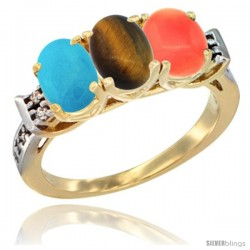 10K Yellow Gold Natural Turquoise, Tiger Eye & Coral Ring 3-Stone Oval 7x5 mm Diamond Accent