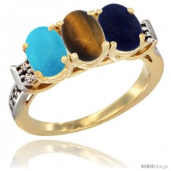 10K Yellow Gold Natural Turquoise, Tiger Eye & Lapis Ring 3-Stone Oval 7x5 mm Diamond Accent