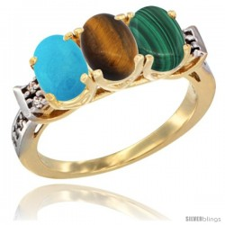 10K Yellow Gold Natural Turquoise, Tiger Eye & Malachite Ring 3-Stone Oval 7x5 mm Diamond Accent