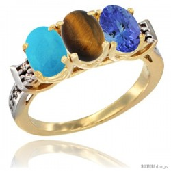 10K Yellow Gold Natural Turquoise, Tiger Eye & Tanzanite Ring 3-Stone Oval 7x5 mm Diamond Accent