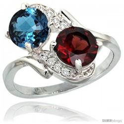 14k White Gold ( 7 mm ) Double Stone Engagement London Blue Topaz & Garnet Ring w/ 0.05 Carat Brilliant Cut Diamonds & 2.34