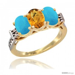 10K Yellow Gold Natural Whisky Quartz & Turquoise Sides Ring 3-Stone Oval 7x5 mm Diamond Accent