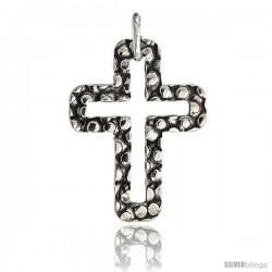 Sterling Silver Cross Pendant Hammered Finish Made in Italy, 1 1/16 in tall