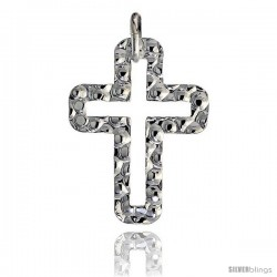 Sterling Silver Cross Pendant Hammered-finish Made in Italy, 1 1/16 in tall -Style Ip177