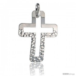 Sterling Silver Cross Pendant Hammered / Polished Made in Italy, 1 1/2 in tall