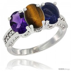 14K White Gold Natural Amethyst, Tiger Eye & Lapis Ring 3-Stone 7x5 mm Oval Diamond Accent