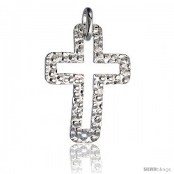 Sterling Silver Cross Pendant Hammered-finish Made in Italy, 1 1/2 in tall -Style Ip183
