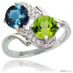 14k White Gold ( 7 mm ) Double Stone Engagement London Blue Topaz & Peridot Ring w/ 0.05 Carat Brilliant Cut Diamonds & 2.34