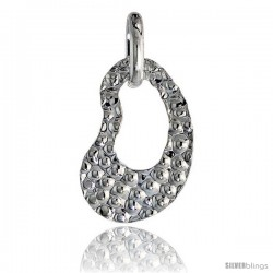 Sterling Silver Hammered Finish Kidney Cut-Out Pendant Made in Italy, 1 in tall -Style Ip193