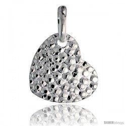 Sterling Silver Heart Pendant Hammered-finish Made in Italy, 7/8 in tall -Style Ip197