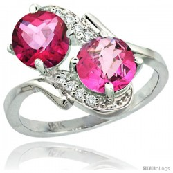 14k White Gold ( 7 mm ) Double Stone Engagement Pink Topaz Ring w/ 0.05 Carat Brilliant Cut Diamonds & 2.34 Carats Round