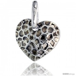 Sterling Silver Heart Pendant Hammered-finish Made in Italy, 3/4 in (17 mm) tall