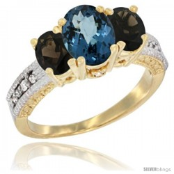 14k Yellow Gold Ladies Oval Natural London Blue Topaz 3-Stone Ring with Smoky Topaz Sides Diamond Accent