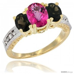 14k Yellow Gold Ladies Oval Natural Pink Topaz 3-Stone Ring with Smoky Topaz Sides Diamond Accent