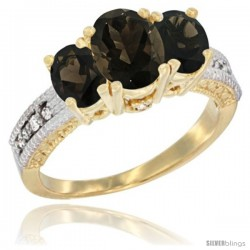 14k Yellow Gold Ladies Oval Natural Smoky Topaz 3-Stone Ring Diamond Accent