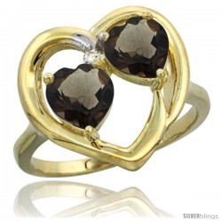 14k Yellow Gold 2-Stone Heart Ring 6mm Natural Smoky Topaz & Smoky Topaz Diamond Accent