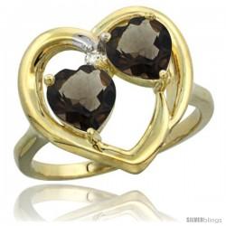 14k Yellow Gold 2-Stone Heart Ring 6mm Natural Smoky Topaz & Smoky Topaz Diamond Accent