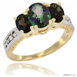 14k Yellow Gold Ladies Oval Natural Mystic Topaz 3-Stone Ring with Smoky Topaz Sides Diamond Accent